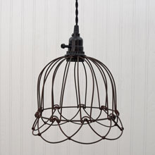 Green/Rust Small Wire Bell Pendant Lamp