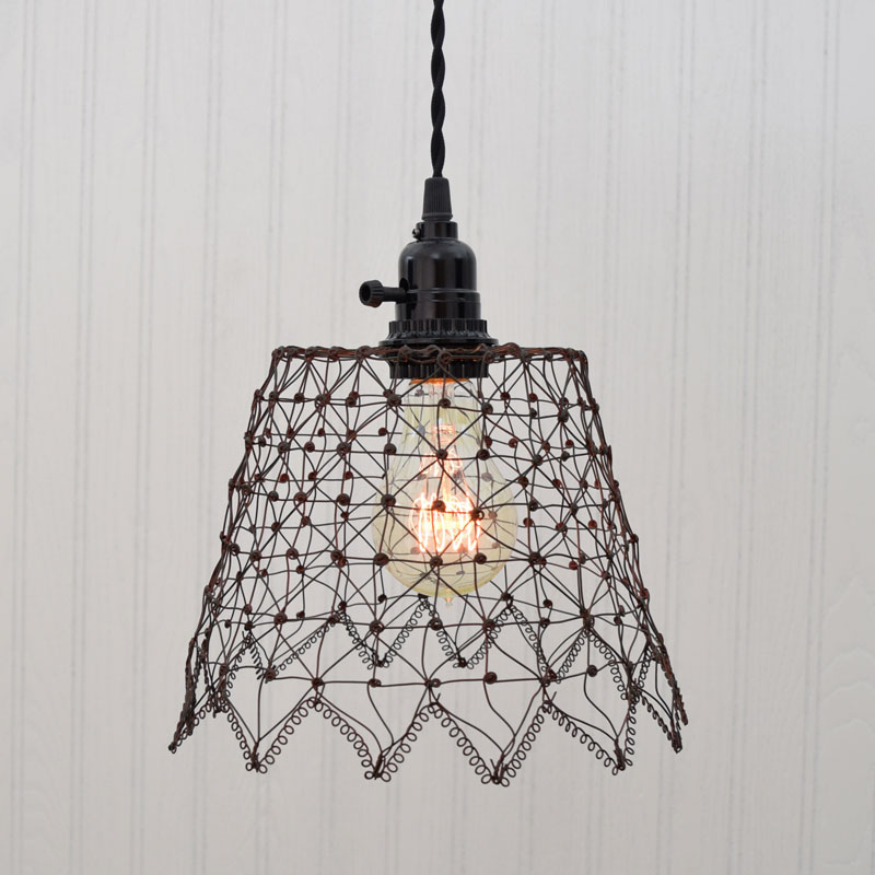 green rust french wire cage pendant light rh oogalights com Wiring a Lamp with Bulbs 3 Touch Lamp Wiring