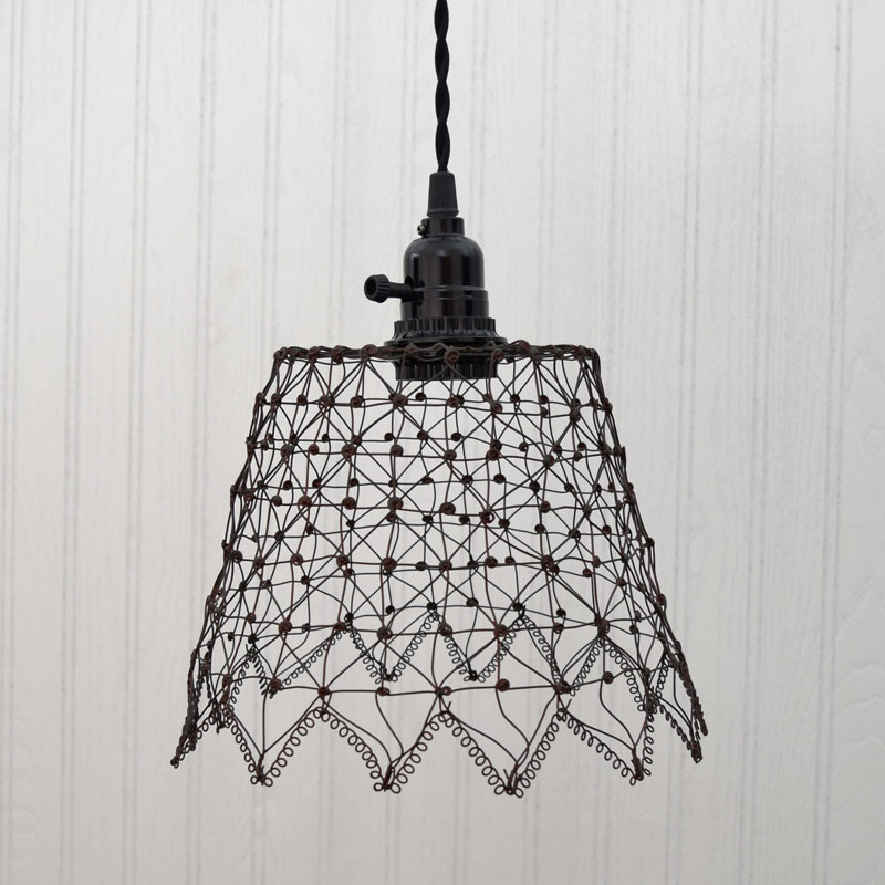 French Wire Cage Pendant Light