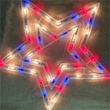 "17"" Red, White & Blue Shimmering Star Light - 50 Lights PD-X6404R11"
