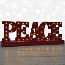 Battery Operated LED Lighted Peace Rustic Sign