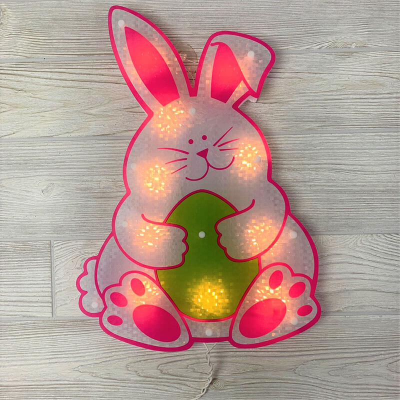 Bunny with Egg Shimmer Wall Art PD-39611