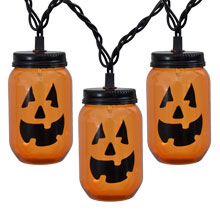 Mason Jar Pumpkin Party String Lights