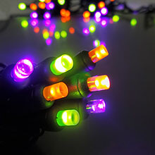 Halloween Frosted LED Light Strand - Green, Orange, and Purple