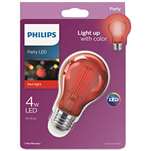 Philips Red A19 LED Party Light Bulb - Medium Base