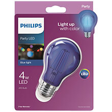 Philips Blue A19 LED Party Light Bulb - Medium Base