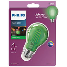 Philips Green A19 LED Party Light Bulb - Medium Base