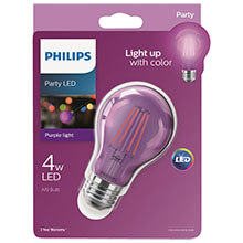 Philips Purple A19 LED Party Light Bulb - Medium Base