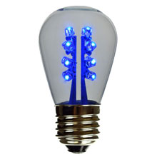 Blue LED S14 Medium Base Lamp - Clear Glass
