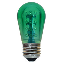 LED S14 Medium Base Light Bulb - Green/Plastic
