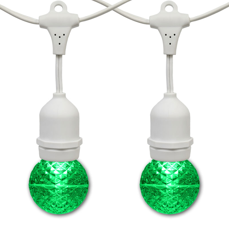 21' Green LED Globe Light Strand Kit - White Suspended Wire