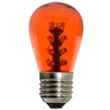 LED S14 Orange Glass Light Bulb - Medium Base