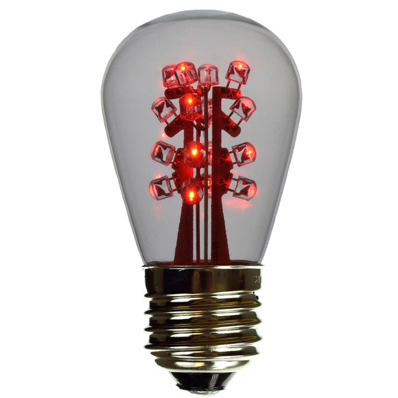 red LED S14 clear glass light bulb