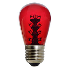 LED S14 Light Bulb - Medium Base - Red/Glass