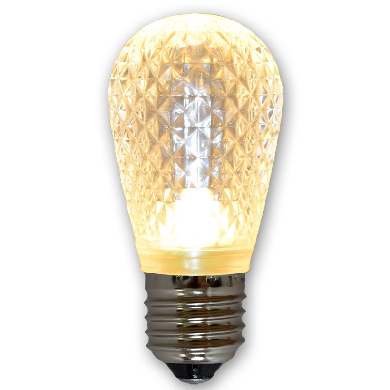 Sun Warm White LED S14 Crystal Cut Faceted Light Bulb