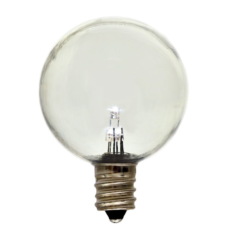 White G40 LED Shatterproof Globe Light Bulb - Candelabra Base - Plastic