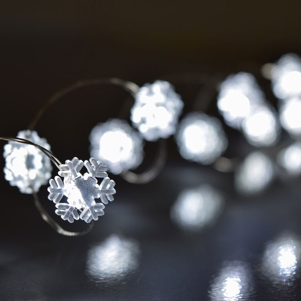snowflake led battery operated string lights