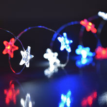 Patriotic LED Acrylic Star Battery Operated Party String Lights