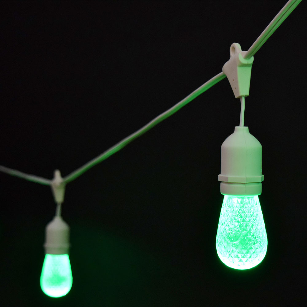 Led String Lights Industrial : Green Faceted LED Commercial String Lights - 21 White Cord