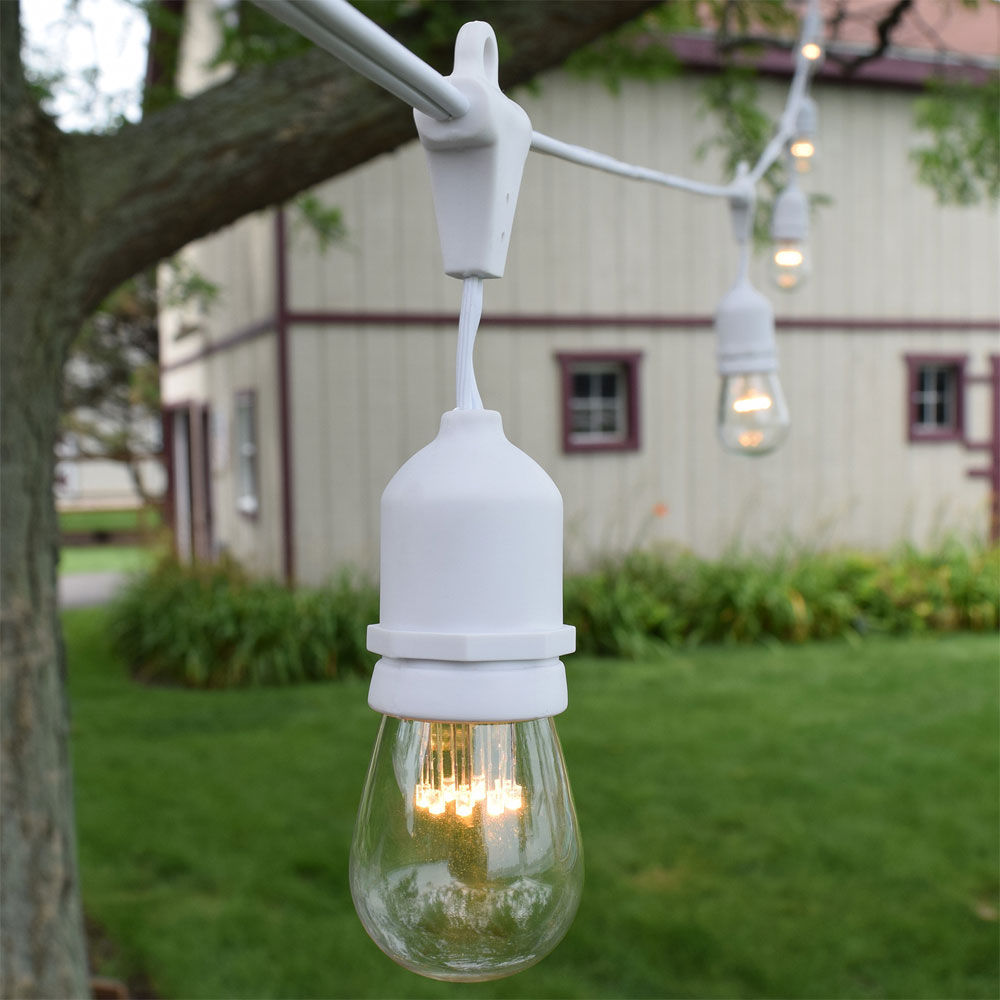 Patio String Lights White Cord: White LED Commercial String Lights