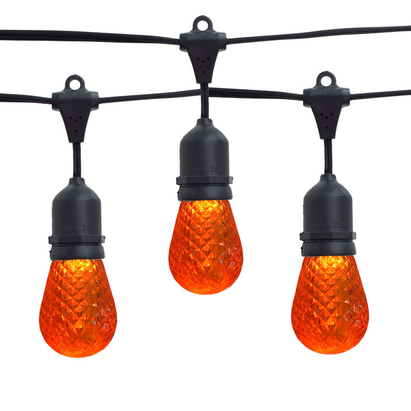 Orange LED Faceted Commercial String Lights