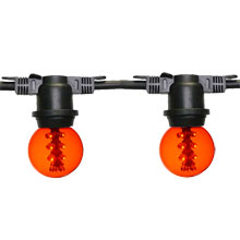 Amber LED G50 Designer Globe Lights - 48' Black Light Strand