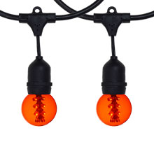 48' Amber LED Designer Globe Light Kit - Black Suspended