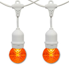 21' Amber LED Globe Light Strand Kit - White Suspended Wire