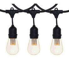 330' Vintage LED Suspended Light Strand Kit - Black Suspended