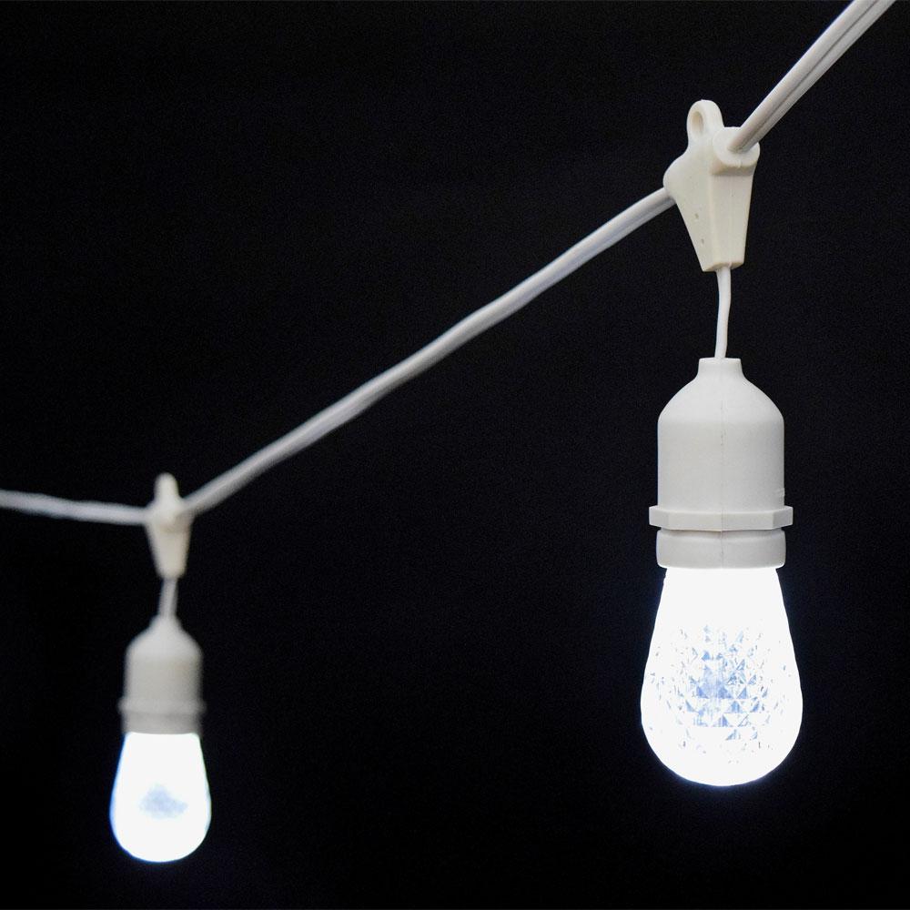 Cool White Led Commercial String Lights 21 White Cord