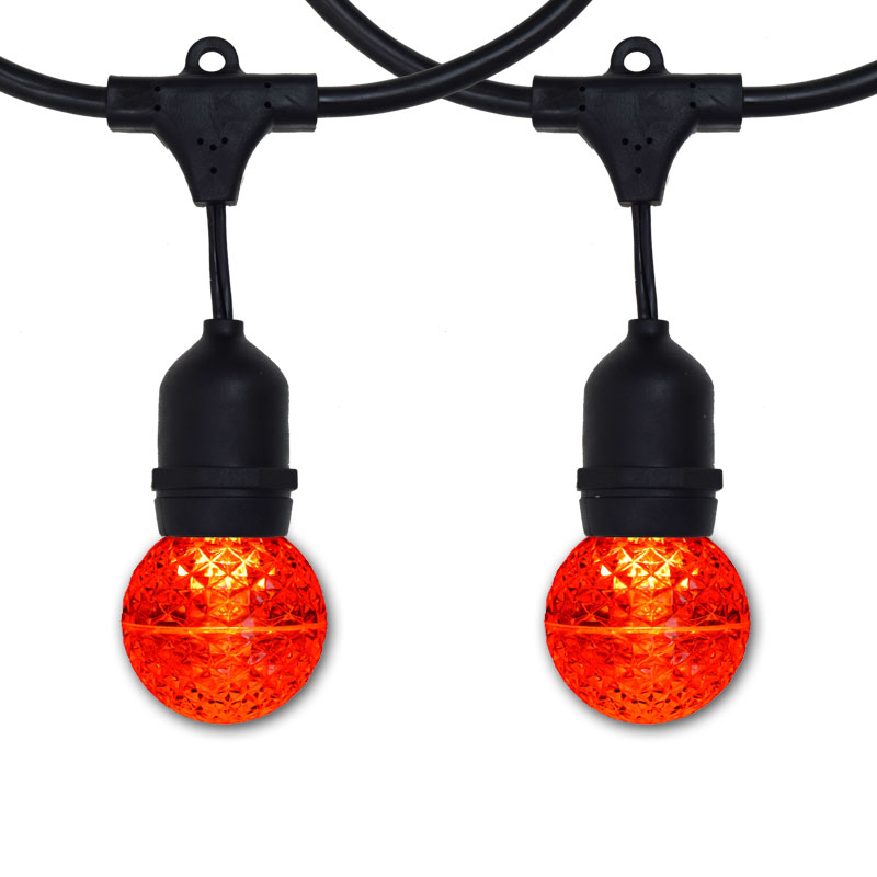 48' Suspended Red LED Globe Light Strand - Black Wire