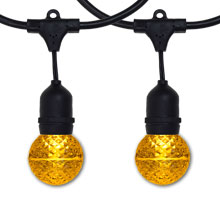 Yellow LED G50 Globe Lights - 48' Suspended Black Light Strand