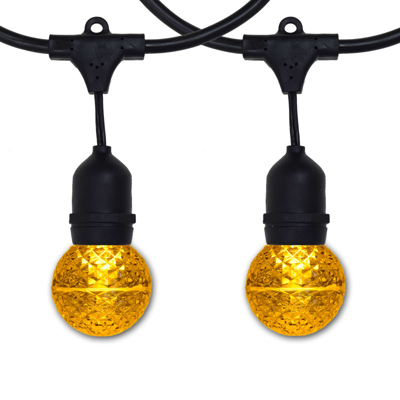 Yellow LED G50 Globe Lights - 100' Suspended Black Light Strand