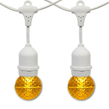 21' Yellow LED Globe Light Strand Kit - White Suspended Wire
