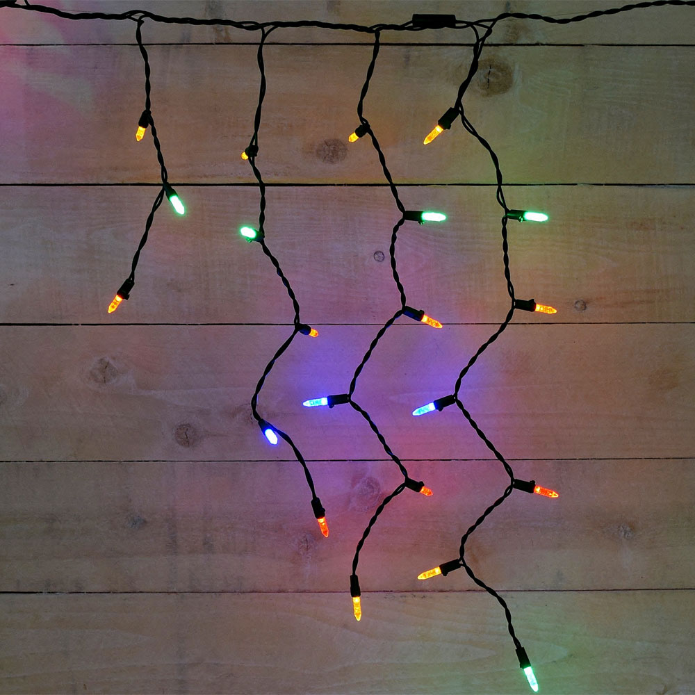 multi color led icicle string light strands green wire 70 lights