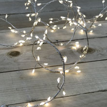 6' Micro LED Garland - Silver Wire - 144 Warm White Lights
