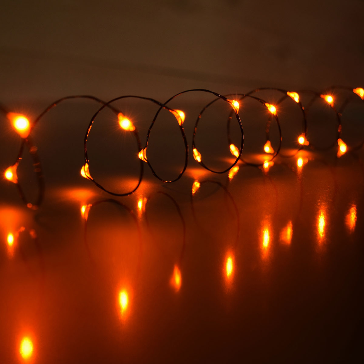 Battery Operated Orange Led Micro String Lights 30 Lights 60 Wire