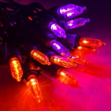 Purple/Orange LED Miniature String Lights - Black Wire - 30-Count DR-54461