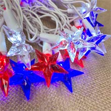 Red, White & Blue LED Star String Lights PD-74436R11