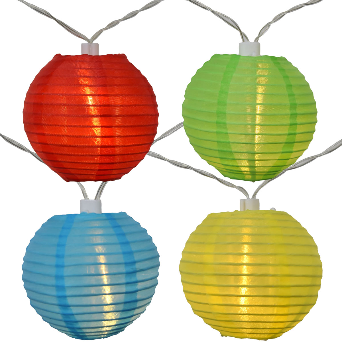 LED Solar Powered Multi Colored Nylon Lantern String Lights