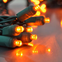 Orange LED String Lights - Green Wire