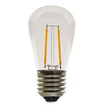 LED S14 Medium Base Light Bulb - Warm White - 2 Filament - 2W - Plastic LI-S14-WW/2F-PL