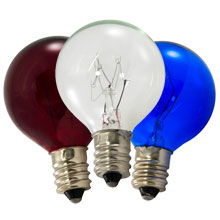 10 Watt C7 Patriotic Globe Light Bulb Kit - Candelabra Base