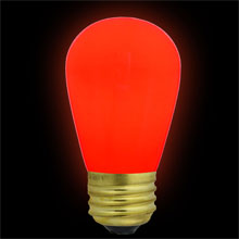 Red Ceramic Festival Light Bulb - 11 Watt S14 Medium Base