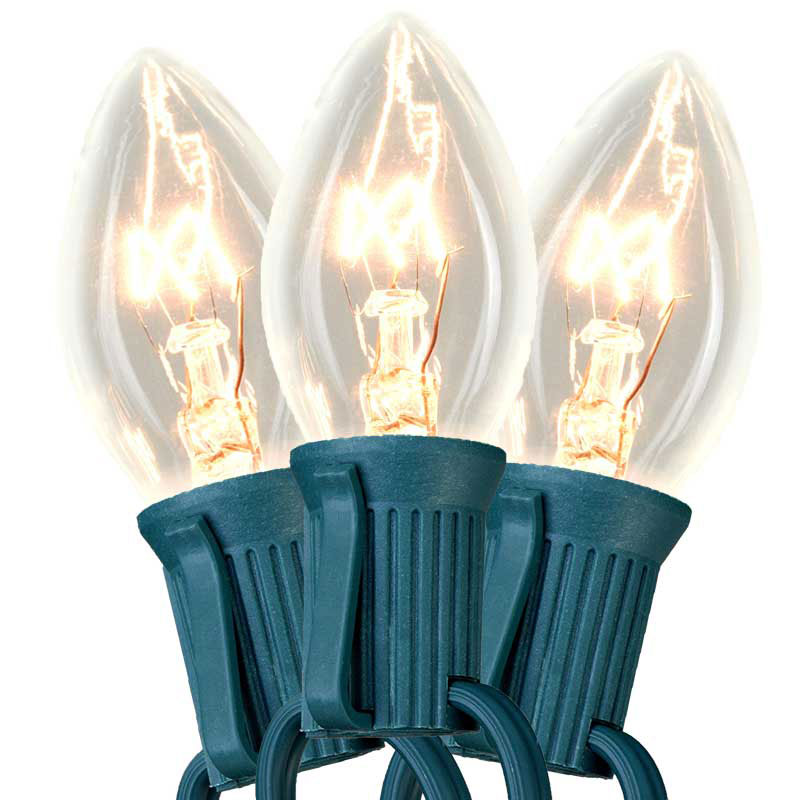 50' Commercial C7 Light Strand - Candelabra Base - Clear Bulbs
