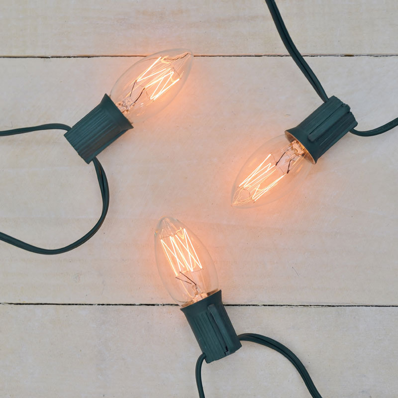 C9 Vintage Edison Style Party String Lights - 7 Lights - 10 Feet