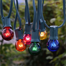 50' C9 Multi-Color Globe String Lights - Green Wire