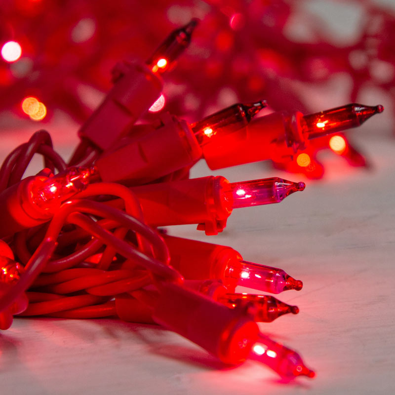 Red/Pink Miniature String Lights - Red Wire - 50 Count BS-82400