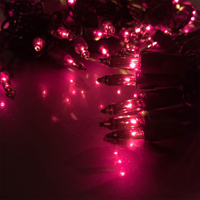 100 Count Fuchsia Miniature Light Set - Black Wire