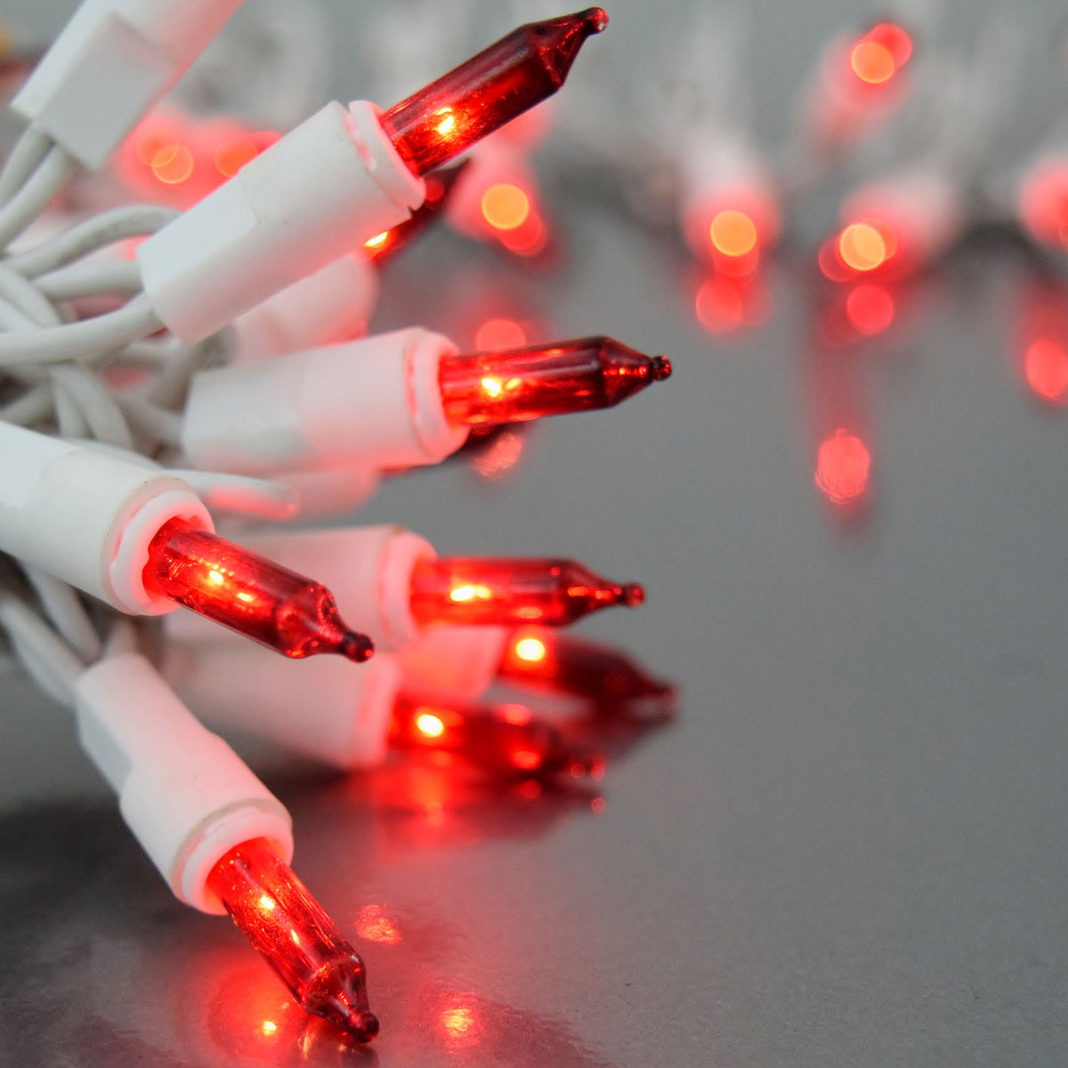 Red Mini String Lights - White Wire